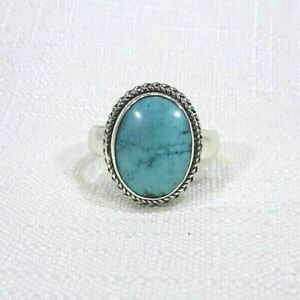 Created Blue Turquoise Solid Sterling Silver Solitaire Ring- US (8) AU (Q)