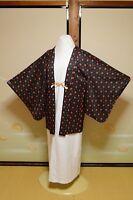 HAORI Chemical fiber Women Black Jacket Red ball outerwear Japanese Kimono  /635