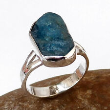Natural APATITE Gemstone Silver Ring, Latest Trend Raw Rough Gemstone Ring-E1065