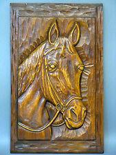 """Pferd Kopf"" alte große Handgeschnitzte massiv Holz Relief Wand-Platte um 1950"