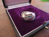 Schöner 925 Silber Ring Weiß Blau Schillernd Massiv Designer Retro Vintage