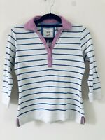 Joules White Blue Stripe Sweatshirt Rugby Top Pink Size S A1113
