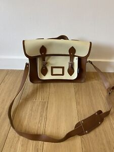 Zatchels Brown & Cream Leather Satchel Used Once