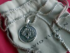 "David Yurman Sterling Silver Petrvs Lion Signet Amulet Pendant 22"" Chain"