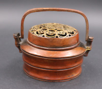 Marked Chinese Red Bronze Palace  Flower Hollow Incense Burner Censer