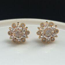 Women Marquise Zircon White Gemstone CZ Stud Flower Earrings Yellow Gold Filled