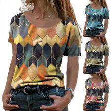 Summer Womens Crew Neck Short Sleeve T Shirt Casual Print Blouse Loose Beach Top