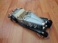 1/18 SCALE BURAGO CLASSIC SILVER 1936 MERCEDES BENZ 500K ROADSTER DIECAST CAR