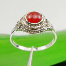6.0 mm Round Orange-Red Color Carnelian Gemstone Ring 925 Sterling Silver, R3211