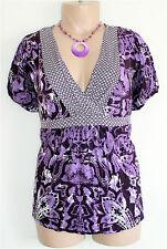 Boho Paisley Print Cross Over Empire Waist Babydoll Top Shirt Blouse Plus Sz 2X