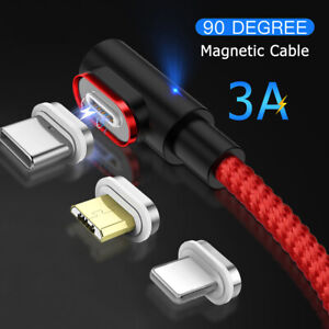 Magnetic Type C Micro USB Cable 3A Fast Charging Data Cord For Samsung Xiaomi