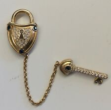 So Cute!!! NOLAN MILLER Blue & Clear Crystal Lock And Key Double Brooch Set