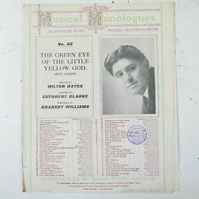 bransby williams MAD CAREW - THE GREEN EYED GOD musical monologue -  piano score