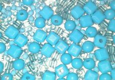 2-5mm Turquoise Blue Beads Mix Jewellery Making Craft Sewing 200 beads