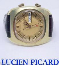 Swiss LUCIEN PICCARD Automatic ALARM Mens DAY DATE Watch* EXLNT* SERVICED* RARE