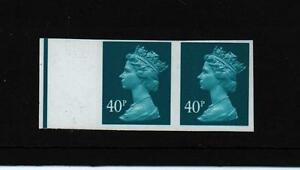 40p Y1705 TURQUOISE  PAIR STAMP TOTAL IMPERF MISTAKE ERROR machin   MNH  SG £850