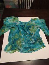 Dress Barn Petite Blue Floral Flutter Shirt Size PM