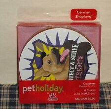 Top Paw GERMAN SHEPARD Beverage Coasters set of 4 Protect & Serve for Treats NIB