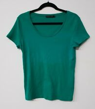 David Lawrence fitted basic green t-shirt womens size XL fits 12-16 EUC #050