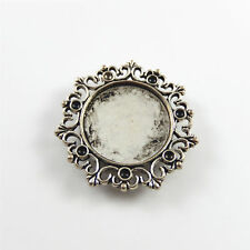 5 pcs Silver Plated Lace Cameo Base Setting 27 mm Ring Jewelry Making Crafts