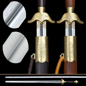 peony Tai Chi Sword Stainless Steel / pattern steel Blade Brass Fittings new#007
