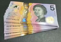 ⭐️Special Consecutive 5x Australia 2016 $5 DOLLAR NOTE UNC GENERATION BANKNOTE