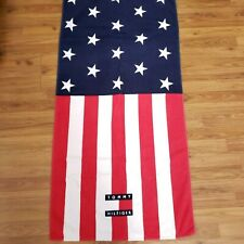 Vintage 90s Tommy Hilfiger Beach Towel Flag Red White Blue