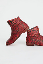 FREE PEOPLE RED ALAMOSA SLOUCHY LEATHER CUFFED STUDDED ANKLE BOOT EU 38 US 8