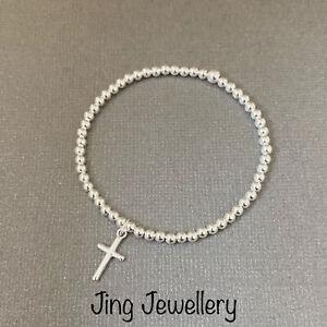 Sterling Silver Child's Bracelet Cross Charm Christening/Holy Communion Gift 925