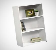 Two Adjustable Shelves Bookcase Home Storage Organizer Back Panel Soft White New