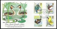GREAT BRITAIN FDC - WILD BIRDS COMPLETE COMBO SET OF 4 - FLEETWOOD CACHET!