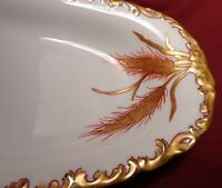 Vintage Limoges T&V France Serving Dish Wheat Pattern Hand Painted Heavy Gold