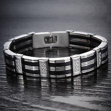 Herren Armband Edelstahl Silikon Schwarz Silber Armreif Armkette Schmuck Massiv