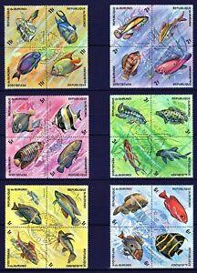 BURUNDI 1974 TROPICAL FISH EXOTIC FISCH  POISSON PESCA MARINE SEA STAMPS MNH CTO