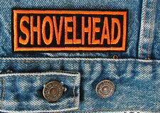 SHOVELHEAD SHOVEL Biker Motorcycle Patch by Dixiefarmer Orange Border & Block