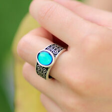 High Quality Ladies Gift Fancy Real Antique Silver Plated Oval Mood Stone Ring