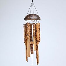 Wood Burnt Floral Windchime Bamboo Coconut Garden Wind Chime Mobile Fair Trade