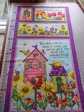 Spectix SPX Birdhouse Gardens Panel, birds, floral 100% Cotton Quilting