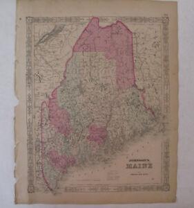 Hand Colored Map Johnson's Atlas Maine Portland Augusta Alfred Eastport 1863
