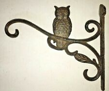 "OWL Plant Hanger flower basket holder up to 16"" pot lantern hook brown bronze"