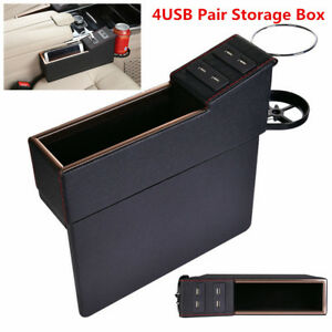 Left+Right Side PU Leather 4USB Charge Seat Gap Storage Box Organizer Cup Holder