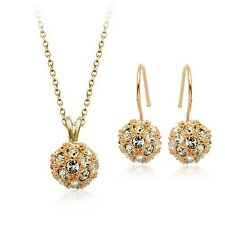 18K GOLD PLATED & GENUINE CZ AND AUSTRIAN CRYSTAL BALL NECKLACE & EARRING SET