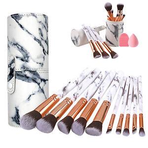 Makeup Brush Set Foundation Blush Eye Marble Cosmetic Brushes & Leather Holder
