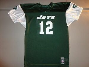 Green Vintage Throwback  New York Jets #12 NFL Football Screen Jersey Youth XL