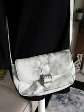 small grey white leather tie dye marbled abstract crossbody bag 8 x 6 inches