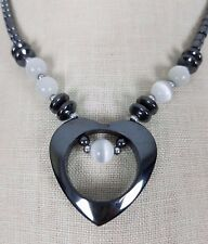 Metal Heart Pendant Charm Beads BEADED NECKLACE Statement Piece Black Silver