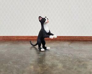 Dollhouse Miniature Kitty Cat Black & White Tuxedo Jumping 1:12 Scale Animals