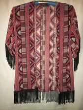 WOMEN'S M, MULTI-COLOR, SHEER SHRUG WITH STRING FRINGE BY ANGIE!