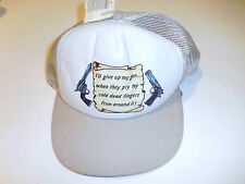 """Vintage Snapback Trucker Hat """"I'll give up my gun..when they pry my cold.."""" NEW"""