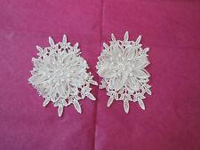 2 pezzi Bianco spento da sposa matrimonio 3D Floreale in pizzo Applicazione /